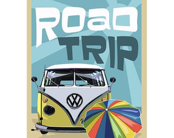 VW Road Trip Graphic Poster - Summer Road Trip