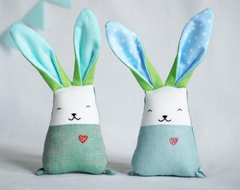 Rabbits set, blush teal soft toys, twin brothers toys, stuffed fabric bunny, bunny doll, baby boy shower, gift for new mom, toddler toys