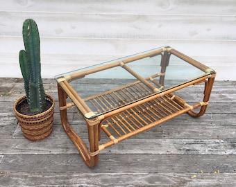 Deux niveaux en rotin Table basse Franco Albini Style