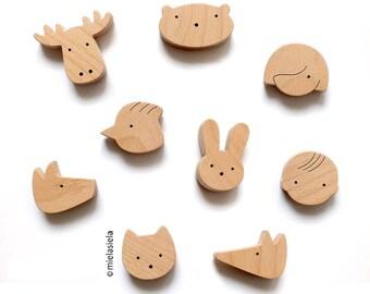 Fridge magnets - Set of 4 wooden magnets, Kids magnets, Kids room decor, Playful wooden magnets, Magnets for boards, Magnets sets for kids