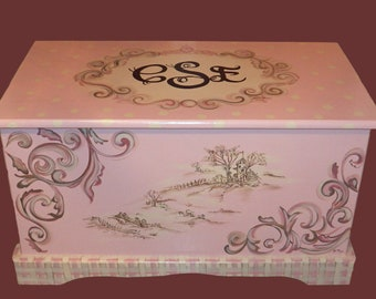 CUSTOM DESIGNED Toy  Chest designed  from your wallpaper border, bedding, picture etc.