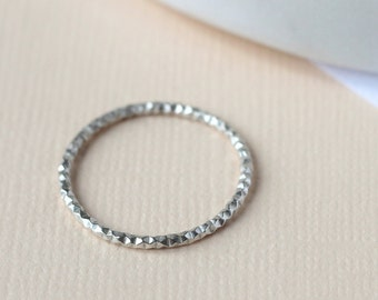 Diamond Cut Stacking Ring - Sterling Silver | Delicate stacking ring | Midi ring | Silver decorative ring | thin stacking | mother's day