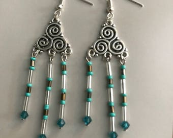 Swirling turquoise chandelier earrings