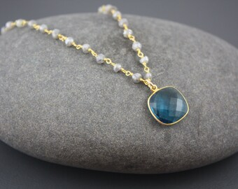 Blue Quartz necklace,labradorite blue topaz necklace,beaded blue necklace,gift for her, gift under 100,delicate necklace,December birthstone