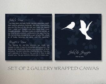 Custom Wedding Vows with Love Birds Canvas Set Wedding Gift for Wedding Anniversary Gift, Personalized Wedding Vows Canvas Birds Wall Art