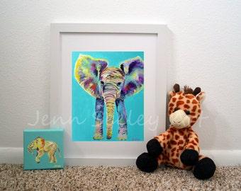 BEST SELLER Blue Baby Elephant Art Print, for him, for her, elephant nursery, elephant print, nursery art, wall art print, blue elephant