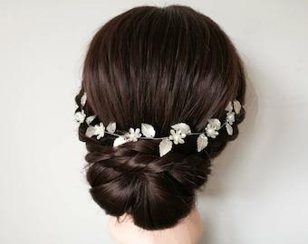 Silver hair vine, silver wedding hair vine, flower hair vine, wedding hair piece, bridal hair vine, bridal hair piece, silver headpiece