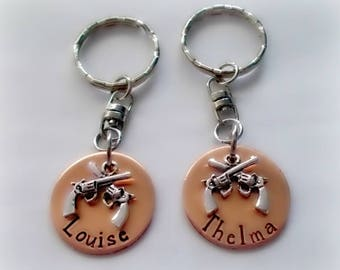 Hand Stamped Thelma and Louise Keychain Set or Necklaces, BFF Keychain Set, Hand Stamped BFF Gift, Partners in Crime, Best Friend Gift
