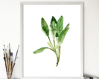 Sage leaves art print, sage watercolor print, herb print, botanical art, kitchen art, minimalist art, greenery decor, thejoyofcolor, foodie