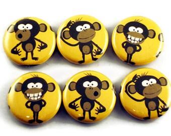 Funky Button Magnets   Crazy Monkey  (BM56)