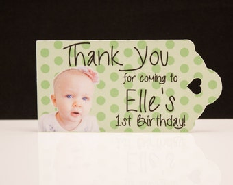 First 1st Birthday Favor Tags - Color Photo Tags with your pictures are perfect for your special occasions