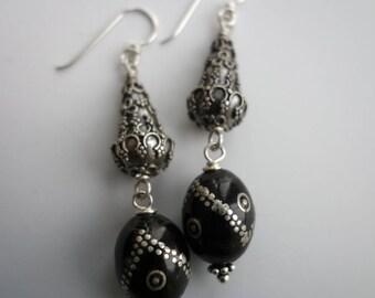 Coral Prayer Bead Earrings