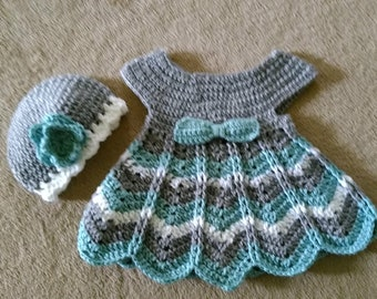 Gray and teal crocheted Chevron baby dress and hat