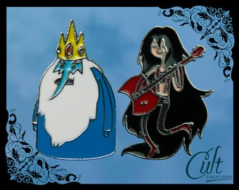 Adventure Time Marceline and Ice King Simon metal & enamel pins / pin badges set of two. Free UK post.