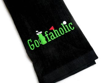 Golf towel, gift for him, Golfaholic, embroidered towel, personalize gift, custom towel, men birthday, Father's Day gift, mens golf, custom