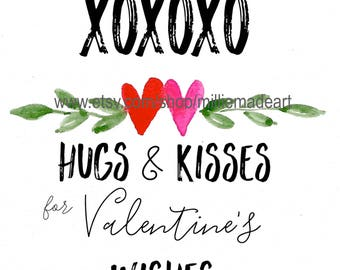 Valentine Watercolor Art XOXO 8x10 Hugs and Kisses Printable Watercolor Digital Watercolor Holiday Valentine's Day