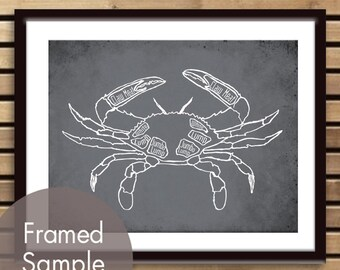 Crab Butcher Chart - Art Print (featured in Charcoal) (Buy 3 and get One Free)