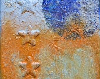 Three Stars, original mixed media collage on canvas