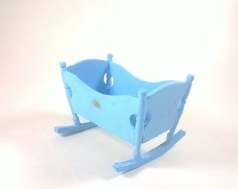 Vintage Dolls House Furniture - Blue Crib Cradle Bed - Baby Room Dollhouse Wooden Miniatures