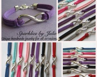Suede Infinity Bracelet - Boho Chic, Silver Toned Infinity Symbol, Pick Your Color, Adjustable Bracelet, Eternal Love & Friendship