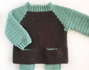 Crochet Two Pocket Baby Sweater Pattern