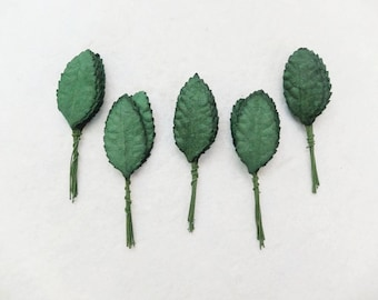 50 dark green paper leaves - mulberry paper leaves