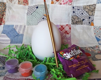 DIY Painting Kit 4 inch egg - unpainted ceramic bisque - ready to paint - includes paints and paintbrush - Easter or birthday gift