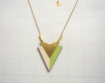 Geometric Necklace, Wood Triangles Necklace, Wood Mint Necklace, Geometric Jewelry