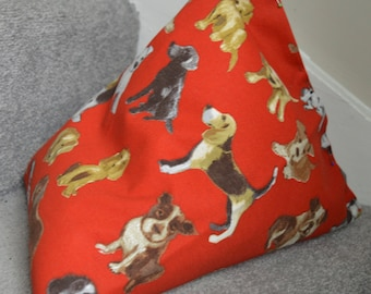 iPad Mini Beanie / Kindle Stand / e Reader Pillow / Tablet Cushion - Red with Dogs