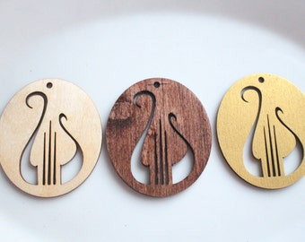 Alpha Chi Omega Ornament // Lyre  Wooden Ornament // Sorority Christmas Gift //