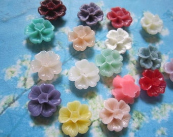 50pcs 15mm assorted Morning Glory flower resin cabochon/cameos/cabs