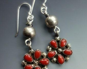 Coral Zuni Sterling Earrings Flower