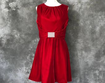 Vintage 1960's 1970's red velvet dress rhinestone