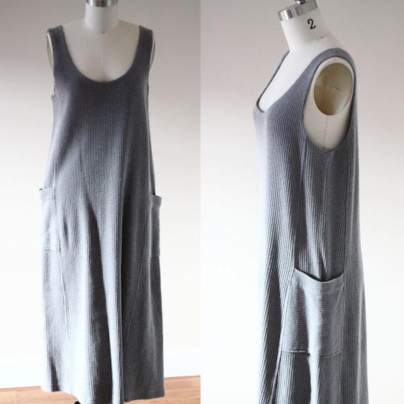 1980s grey knit maxi dress // grey maxi dress  // vintage dress
