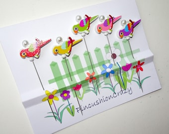 Wooden Bird Pins - Craft Embellishments Pins - Scrapbook & Cardmaking Pins - Tack Board Pins - Decorative Pins - Office Gift