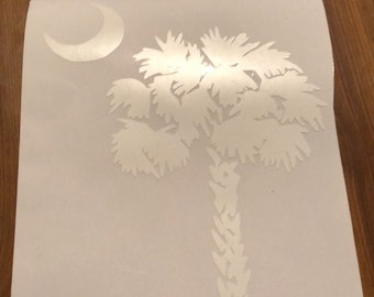 Palm Tree Crescent Moon Vinyl Decal