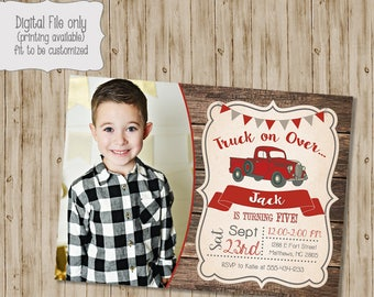Vintage Truck Birthday Invitation, Rustic Wood birthday, Retro Birthday Invite, Red Truck Birthday, Red Truck, Truck, Boy Birthday