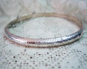 Vintage Sterling Etched Cuff Clamp Bangle Bracelet