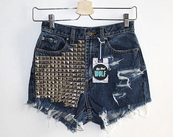 Denim Cutoff Shorts - High Waisted, Heavily Studded on the Front, Slashed and Frayed