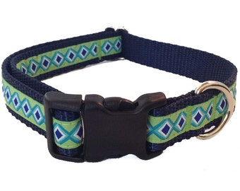 "3/4"" Green and Navy Diamond Dog Collar"