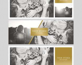 facebook timeline cover set - instant download editable .PSD templates - gold - photography marketing