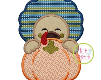 Turkey Boy Pumpkin Peeker Applique for Machine Embroidery (Shown with our Natural Circle Monogram NOT included) INSTANT DOWNLOAD