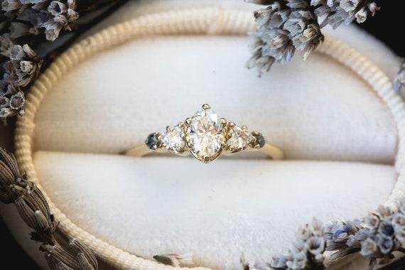 Moissanite oval 14k gold cluster five stone engagement ring, 14k gold vintage style ring, cluster engagement ring, alternative engagement