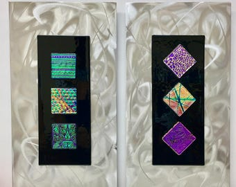 Wall Art, Dichroic Glass on Brushed Metal ~ Modern Mixed Media, Handmade Jeweltone Brilliant Colors ~  2 Panels Contemporary