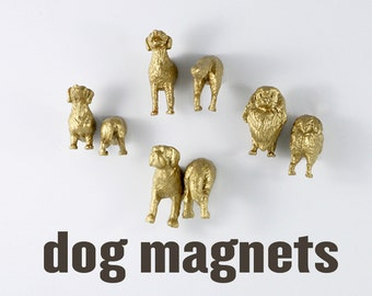 Coworker Gag gift - Dog Magnet Set of eight 8 magnets in metallic shiny gold