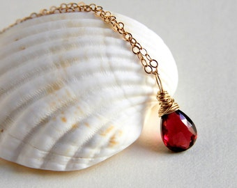 Mozambique blood red garnet wire wrapped briolette pendant necklace sterling silver or gold filled