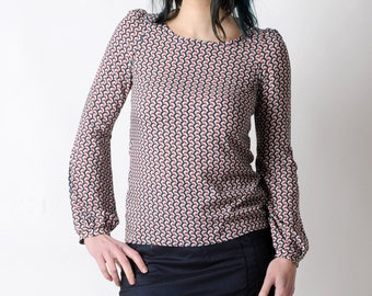 Long-sleeved blouse, Patterned blouse, Black red white shirt with long sleeves, MALAM