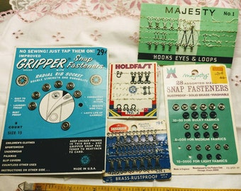 Colorful Lot of Vintage Sewing Snap Fasteners, Hooks and Eyes, Loops on Original Cards