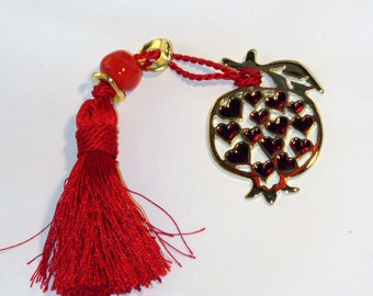 Beautiful Gold Pomegranate Charm with Red Enamel Color Hearts - Metal Good Luck Charm Gift Wrap - Greek Traditional Souvenir - Brass Plated
