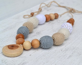 Gray Beige White Nursing Necklace Breastfeeding Necklace Teething necklace Crochet beads Juniper beads  First toy Cotton Crochet Bead